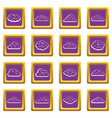 clouds icons set purple vector image vector image