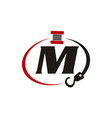 crane hook towing letter m vector image vector image