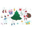 cute doodle christmas elements set vector image