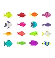 Cute fish icons set vector image