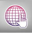 earth globe with cursor purple gradient vector image vector image