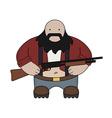 Fat redneck with shotgun vector image vector image