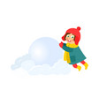 girl having fun with snoball isolated vector image vector image