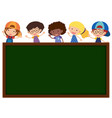 green board with cute children in background vector image vector image