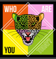 head of leopard with phrase vector image vector image