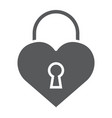 heart lock glyph icon love and padlock love lock vector image vector image
