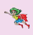 hero girl flying vector image