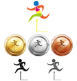 Hurdle running icon and sport medals vector image