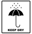 icon packaging sign keep dry with umbrella vector image vector image