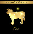 isolated vintage gold emblem for farm with cow vector image