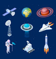 isometric spaceships space satellite rocket vector image vector image