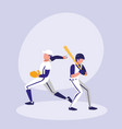 men playing baseball isolated icon vector image