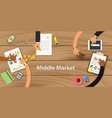 middle market with team working on wooden table vector image