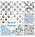 Nautical anchor helm compass seamless pattern vector image vector image
