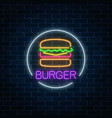 neon glowing sign of burger in circle frame on a vector image