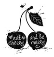 Of Isolated Cherry Silhouette vector image vector image