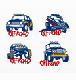off road car sticker set vector image vector image
