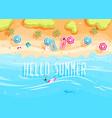 people swim and sunbathe vector image