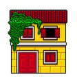 pixel art yellow italian house isolated vector image vector image