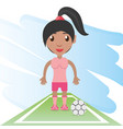 pretty woman athlete playing soccer vector image vector image