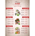 Restaurant vertical color sushi menu vector image vector image