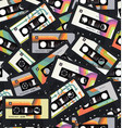 retro vintage cassette tape seamless background vector image vector image