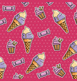 seamless pattern of patches with ice cream vector image