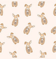 seamless pattern with funny rabbit with closed vector image