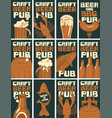 set business cards for pub on topic beer vector image vector image