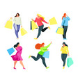 set of a buyers with shopping bags in hand vector image
