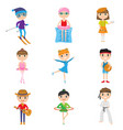 set of child activities and hobbies isolated vector image