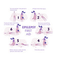set of epilepsy seizures first aid situation with vector image vector image