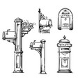set vintage mailboxes post mounted mailbox vector image