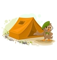 Summer holiday camp Scout owl standing near tent vector image