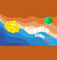 summertime big sun and blue oceans with beach vector image vector image