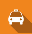 taxi car icon isolated with long shadow vector image
