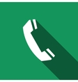 Telephone handset icon with long shadow vector image vector image