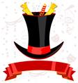 top magic hat and ribbon vector image