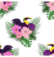 toucan paradise pattern cartoon style vector image vector image