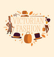victorian people gentleman in hat and woman vector image