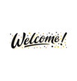 welcome lettering sign with black gold stars vector image vector image