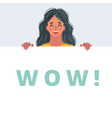 wow female face banner vector image vector image