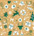 yellow seamless pattern with christmas symbols vector image