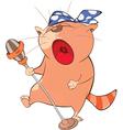 Cute Cat Singing Cartoon Character vector image