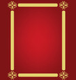 red background with golden ornament frame vector image