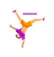 young man dancing break dance breakdance dancer vector image