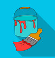 bucket of paint and paintbrush icon in flat style vector image