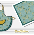 Apron With Blue Flowers vector image vector image