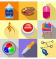 art tools icons set flat style vector image vector image