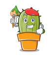 artist cute cactus character cartoon vector image
